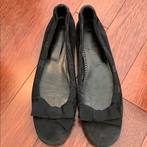 JCrew Sz8 1/2 Black Suede Ribbon Bow Ballet Flats